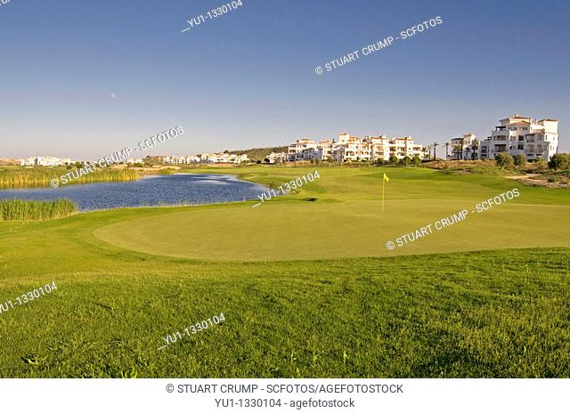 16th Green, Fairway and Lake at Hacienda Riquelme Golf Resort, Murcia, Spain
