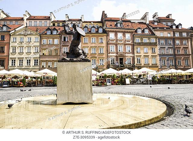 Old Town Market Place. Mermaid Statue. Warsaw, Poland, Europe