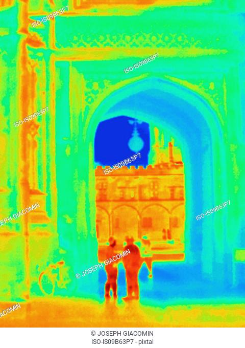 Thermal image of Christ Church, Oxford, England, UK