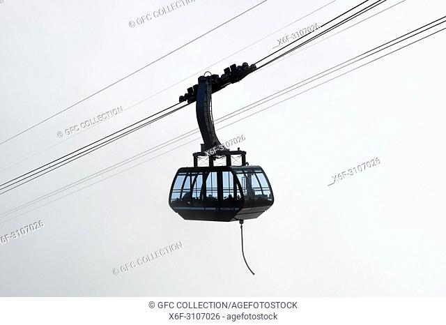 Gondola of the Moleson cable car against the light, Moléson-sur-Gruyères, canton of Fribourg, Switzerland
