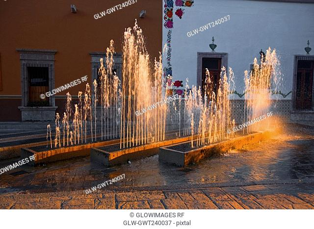 Fountains in front of a building, San Jose De Gracia, Aguascalientes, Mexico