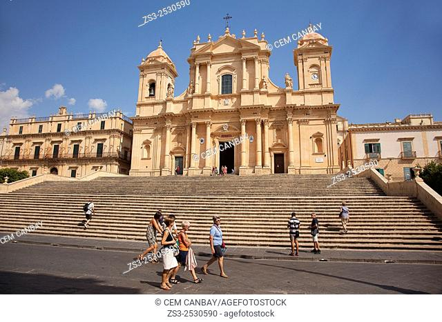 Tourists in front of the Cathedral, Noto, Sicily, Italy, Europe