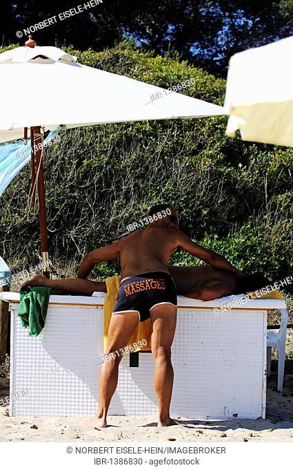 Massage, Cala de Ses Salines, Ibiza, Pine Islands, Balearic Islands, Spain, Europe