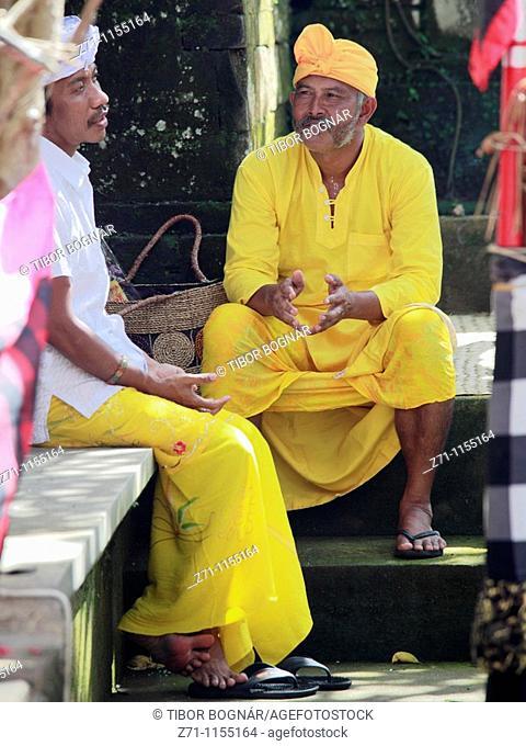 Indonesia, Bali, Mas, temple festival, two men, odalan, Kuningan holiday