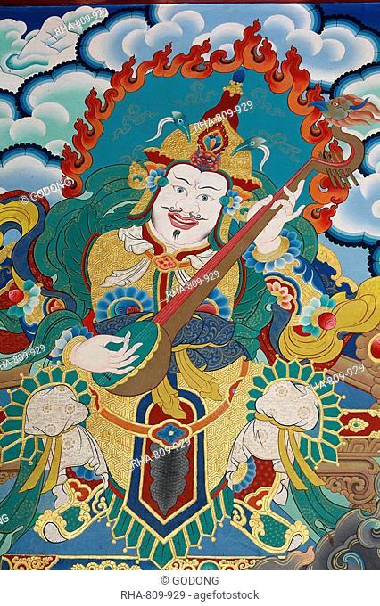 Temple guardian guarding the East and spring, named Dhritarashtra, Kopan monastery, Kathmandu, Nepal, Asia