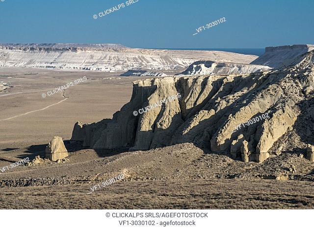 Rock formations at Caspian Depression desert, Aktau, Mangystau region, Kazakhstan