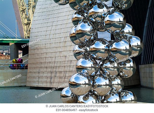 Sculpture of Anish Kapoor en the Guggenheim Museum Bilbao Vizcaya Pais Vasco Spain