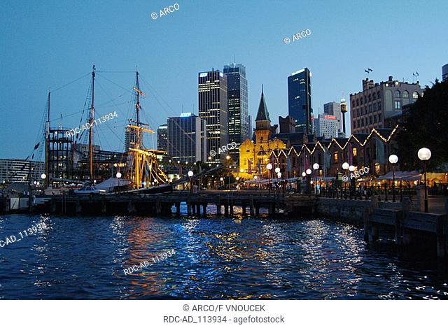 Harbour and skyline in the evening Sydney Cove Sydney New South Wales Australia