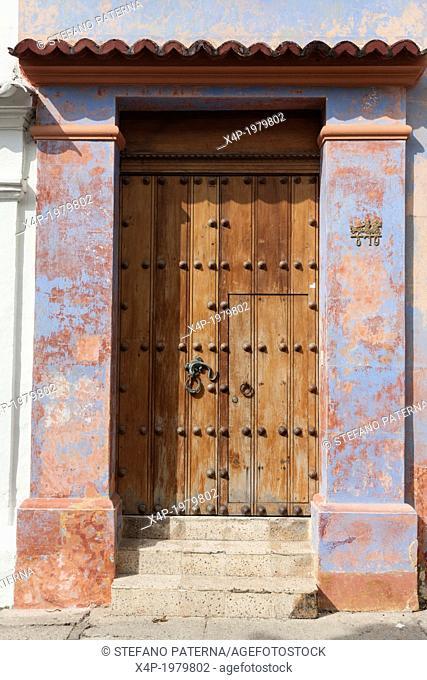 HIstoric, colonial door with knocker, Cartagena, Colombia