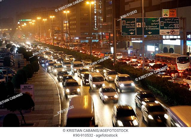 Traffic jam in the night, Dubai, United Arab Emirates UAE, Arabian peninsular, Asia