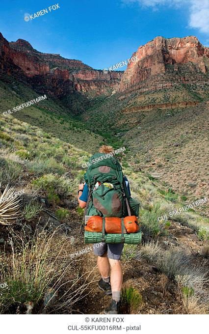 Man hiking, New Hance, Grandview Hike, Grand Canyon, Arizona, USA