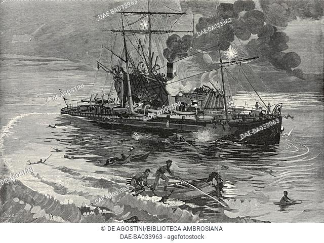 Shipwreck off Tino island, Liguria, Italy, drawing by Eduardo Ximenes (1852-1932), from L'Illustrazione Italiana, Year XXII, No 30, July 28, 1895
