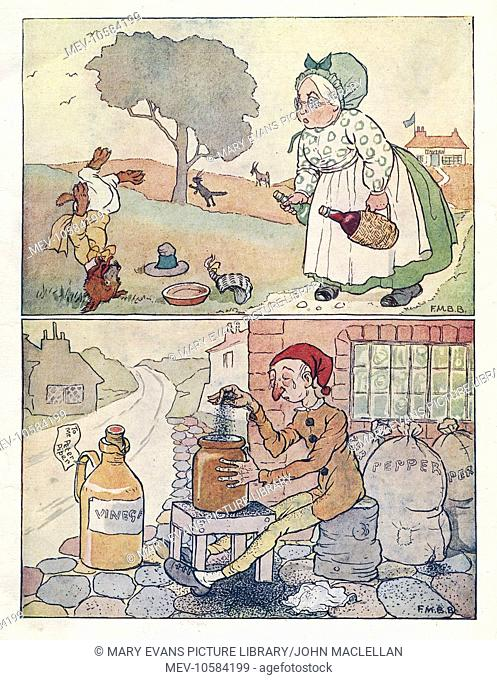 Nursery Rhymes. Old Mother Hubbard (above) -- She went to the tavern for white wine and red, and when she came back the dog stood on his head