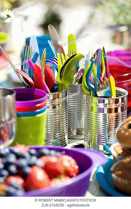 Celebration table. Colorful sets