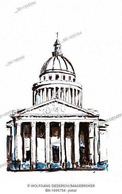 Pantheon building, Paris, France, drawing by Gerhard Kraus, Kriftel
