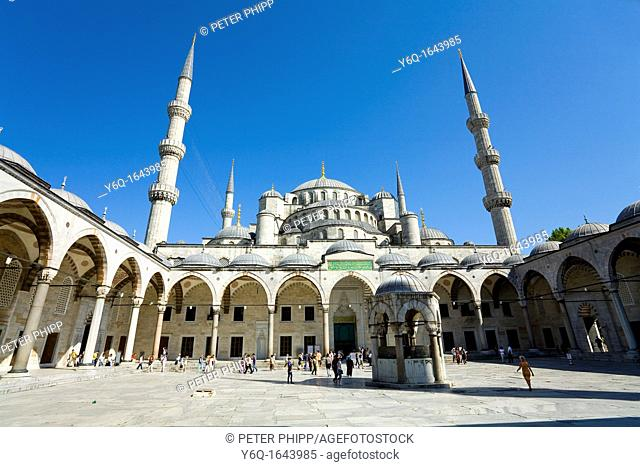 The courtyard of the 'Blue Mosque' Sultan Ahmet Camii  Istanbul