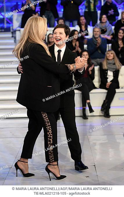 Tv presenter Mara Venier, Isabella Rossellini during the tv show Domenica in, Rome, ITALY-02-12-2018