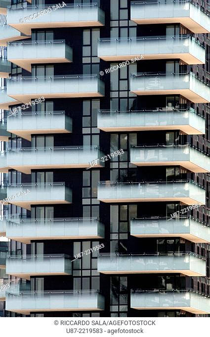 Italy, Lombardy, Milan, Residential Towers Varesine designed Arquitectonica end Caputo Partnership, Detail Facade