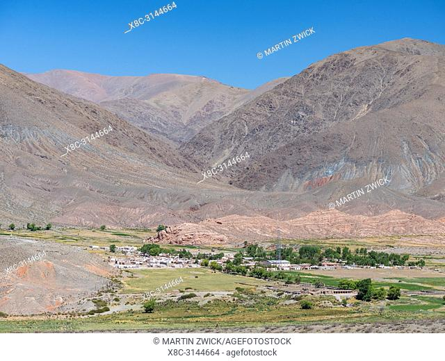 Village La Poma, last settlement in the valley of Calchaqui. The Altiplano in Argentina, landscape along RN 40 near Mtn. Pass Abra del Acay (4895m)