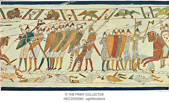 'The Beginning of the Battle of Senlac (Bayeux Tapestry)', c15th century, (1902). Senlac Hill (or Senlac Ridge) is the location where Harold Godwinson deployed...