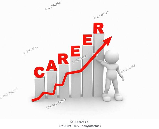 3d people - man, person and a graph - career