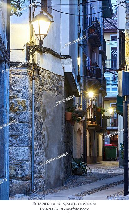 Streetlamp, exterior lighting, Mundaka. Bizkaia. Basque Country. Spain