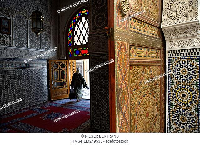 Morocco, Middle Atlas, Fez, Imperial City, Fez El Bali, medina listed as World Heritage by UNESCO, Zaouia funerary mosque of Sidi Ahmed Tijani