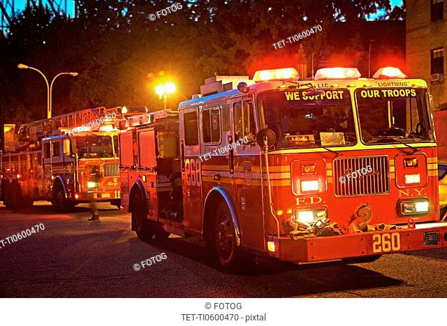 fire trucks, New York City