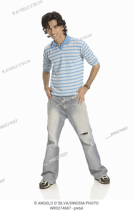 Teenage boy posing as dancing wearing t-shirt and jeans MR 687T