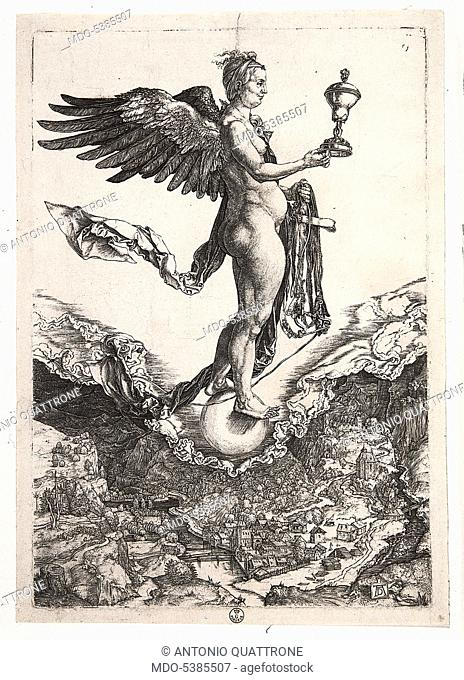 Nemesis or The Great Fortune, by Albrecht Durer, 1501, 16th Century, burin engraving