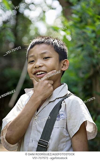 Portrait of a young boy after school in Luang Prabang,Laos