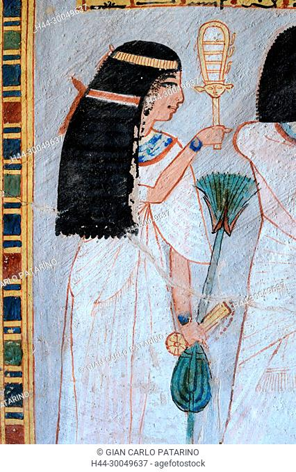 Luxor, Egypt: paintings from the Tomb of Roy (TT55) XVIII° dyn.,from Nobles Tombs in the area of Dra Abu el-Naga