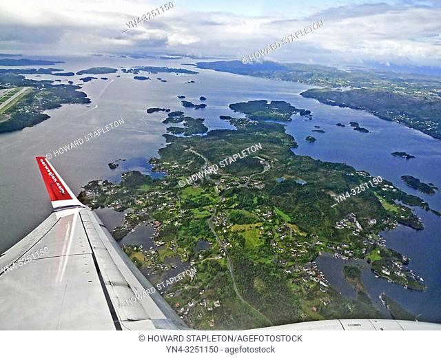 Norway coastline from the air near the Bergen Airport