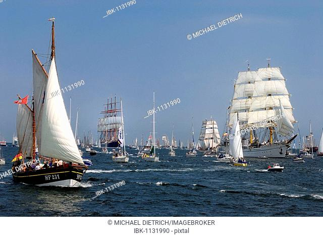Windjammer parade of the Kiel Week 2006 with Gorch Fock, training sail ship of the German Navy, and traditional sailers, Kiel Fjord, Schleswig-Holstein, Germany