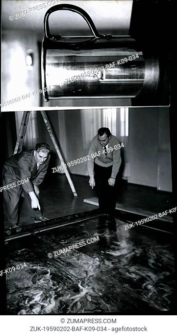 Feb. 02, 1959 - Experts at the destroyed painting by Rubens: On Feb.26th, 1959 in the Alte Pinakothek in Munich an assault with acid was made on the...