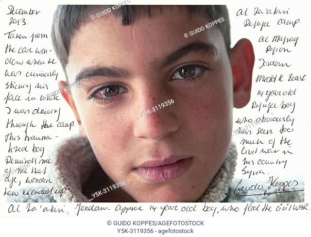 Tilburg, Netherlands. Scan of a printed portrait of a Syrian refugee boy with noted and comments about his situation in refugeecamp Al Za'aatari, Jordan