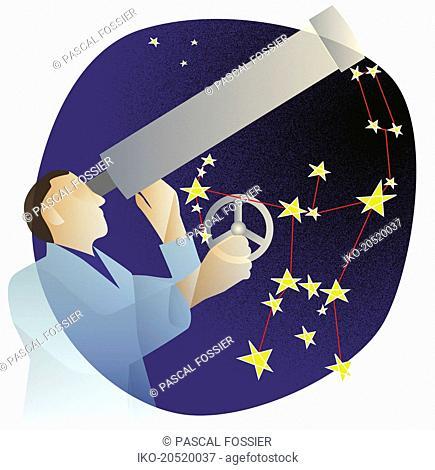Astronomer stargazing