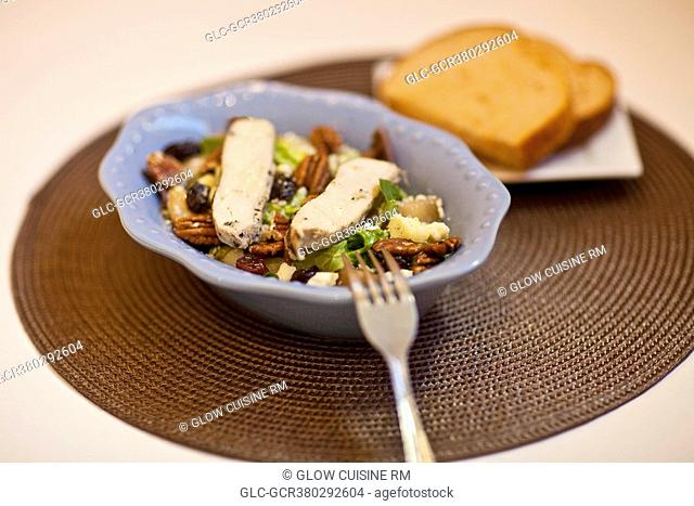High angle view of a salad with bread