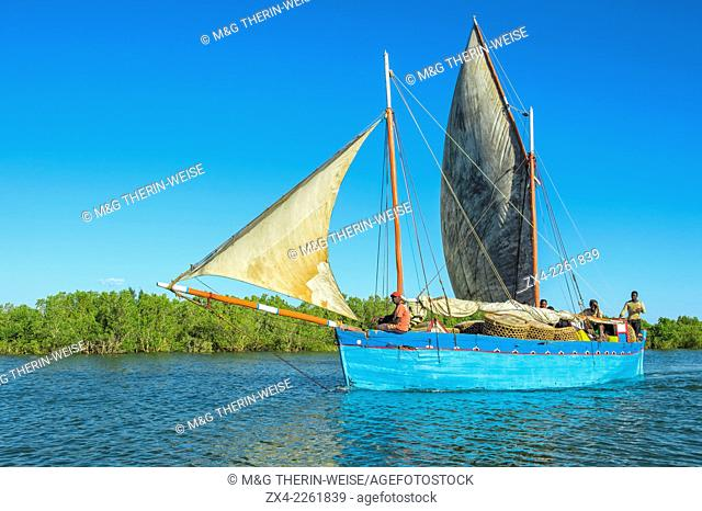 Dhow navigating towards the Morondava harbor, Toliara province, Madagascar