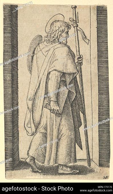Saint James Major, book is his right hand, staff in his left facing right, from the series 'Piccoli Santi' (Small Saints)