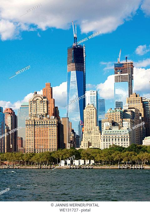 One World Trade Center, the Freedom Tower, under construction in New York, NY, USA
