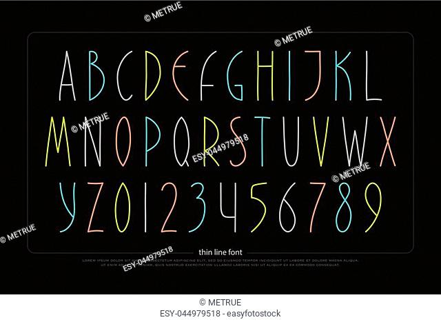 hand drawn alphabet letters and numbers. vector font type design. handcrafted lettering symbols, colorful typesetting. thin line write typeface