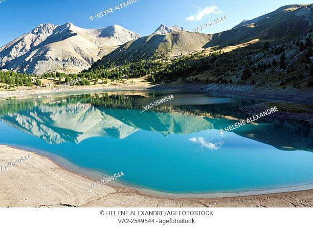 Allos lake, the largest natural lake in Europe, Alpes-de-Haute-Provence (04), Provence-Alpes-Cote d'Azur region, France