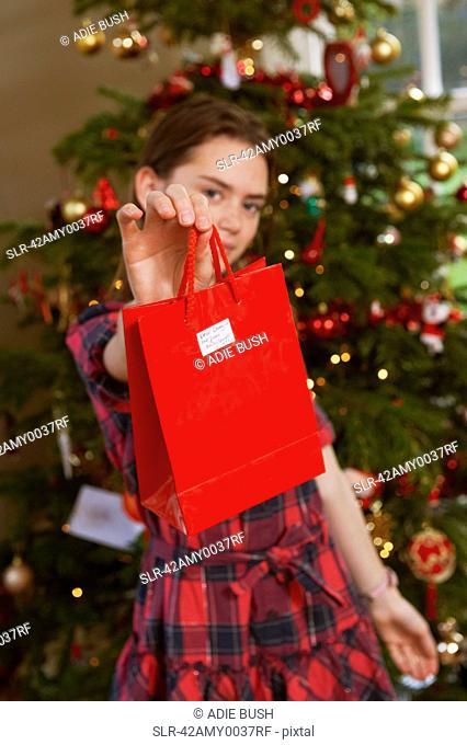 Girl holding gift bag by Christmas tree