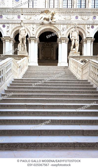 Venice, Italy. Detail of Palazzo Ducale stairway