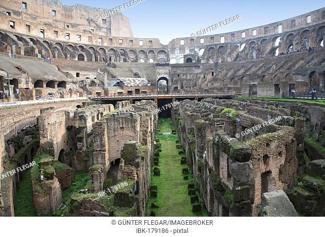 Interior view of the Colosseum with the basement, Rom, Italy