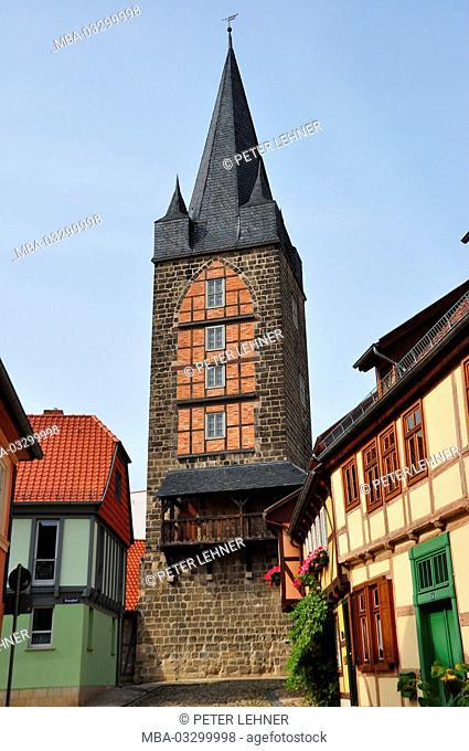 Germany, Saxony-Anhalt, Quedlinburg, high tower