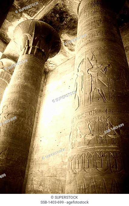 Egypt, Edfu, The Outer Hypostyle Hall at Temple of Horus