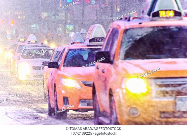 Times Square during January 2, 2014 winter storm, 42nd Street vicinity, Times Square, Midtown Manhattan, New York City, USA