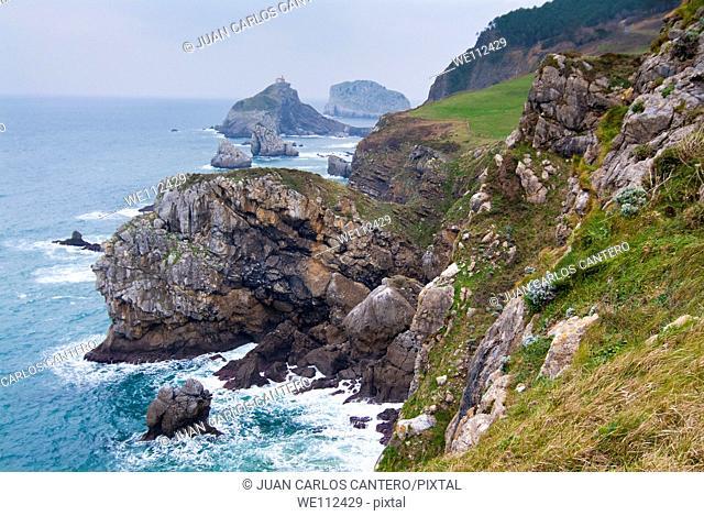 Bakio Coast and San Juan De Gaztelugatxe. Vizcaya. Basque Country. Spain. Europe